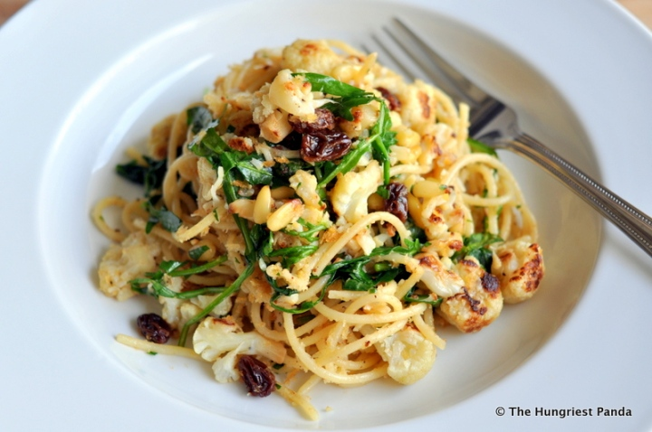 Sicilian style Spaghetti - pasta, anchovies, bread crumbs, raisins, pine nuts, parsley, lemon, arugula, cauliflower